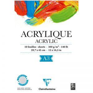 """Альбом для акрила 10л., А3, на склейке Clairefontaine """"Acrylic"""", 360г/м2"""