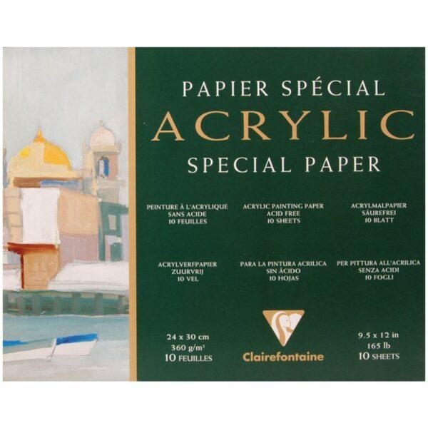 """Бумага для акрила 10л. 240*300мм Clairefontaine """"Acrylic"""", 360г/м2, склейка по 4-м сторонам"""