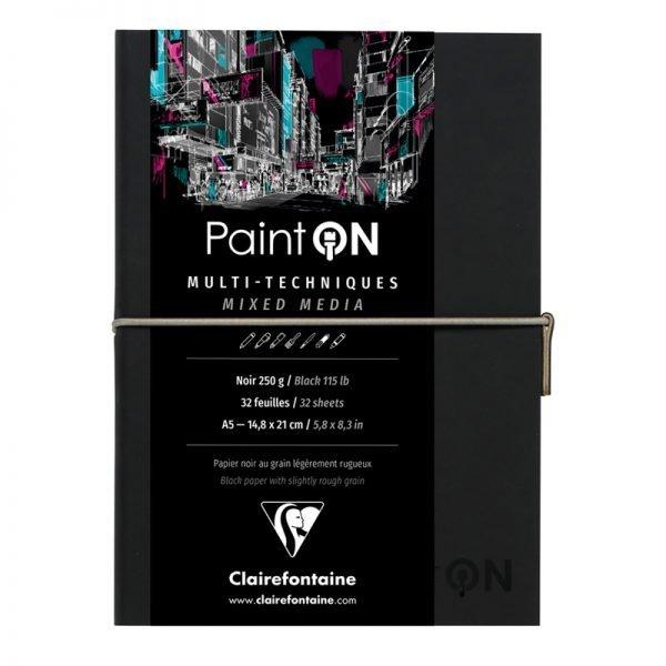 "Скетчбук для смешанных техник 32л., А5, на сшивке ""Paint'ON"", 250г/м2, легкое зерно, черный, кожзам"