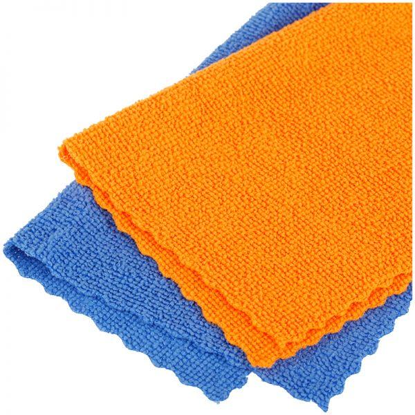 """Салфетки для уборки OfficeClean """"Универсальные"""", набор 2шт. (синяя+оранжевая)., микрофибра, 25*25см, европодвес"""