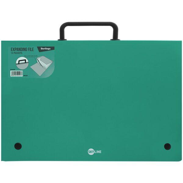 """Папка-портфель 13 отделений Berlingo """"Skyline"""", А4, 328*285мм, 700мкм, зеленая"""