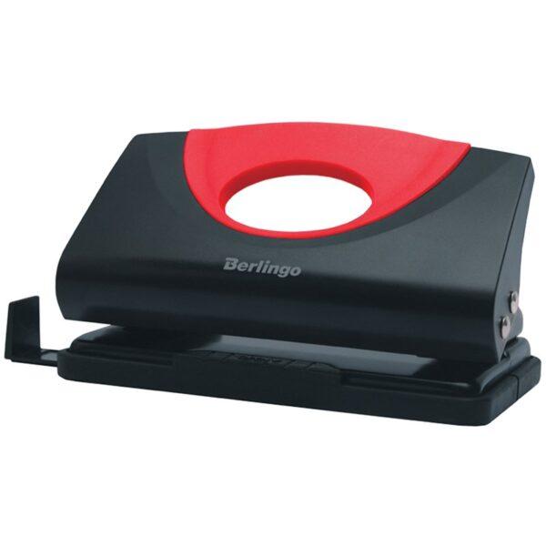 """Дырокол Berlingo """"Office Soft"""" 10л., пластиковый, красный, с линейкой"""