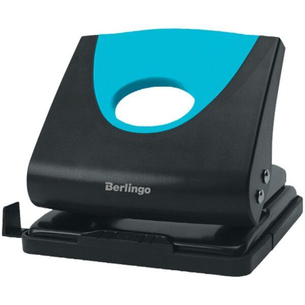 """Дырокол Berlingo """"Office Soft"""" 20л., пластиковый, синий, с линейкой"""