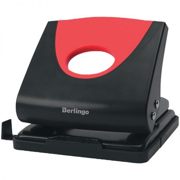 """Дырокол Berlingo """"Office Soft"""" 20л., пластиковый, красный, с линейкой"""
