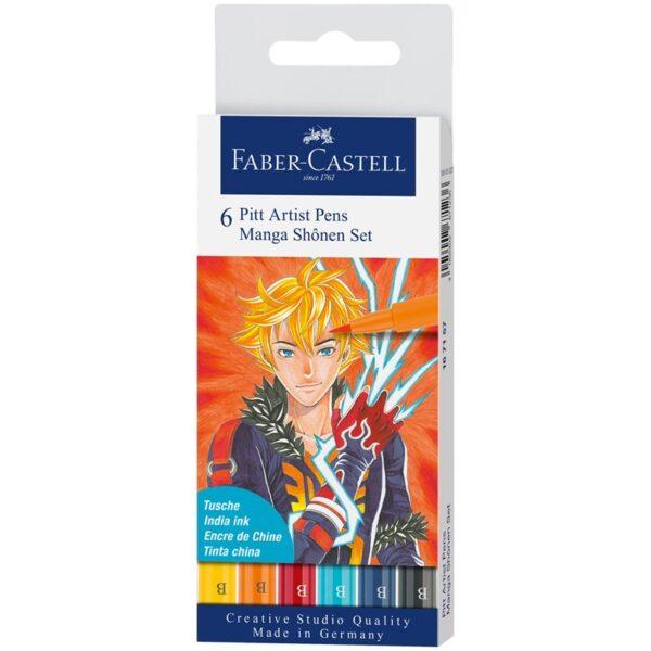 "Набор капиллярных ручек Faber-Castell ""Pitt Artist Pens Manga Shôjo Brush"", ассорти, 6 шт., пластик."