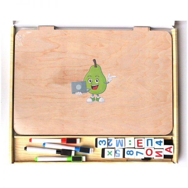 """Доска магнитно-маркерная Десятое королевство """"Ноутик"""" с магнитными игровыми элементами, неокр.дерево"""