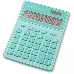 Калькулятор настольный Citizen SDC444XRGNE, 12 разрядов, двойное питание, 155*204*33мм, бирюзовый