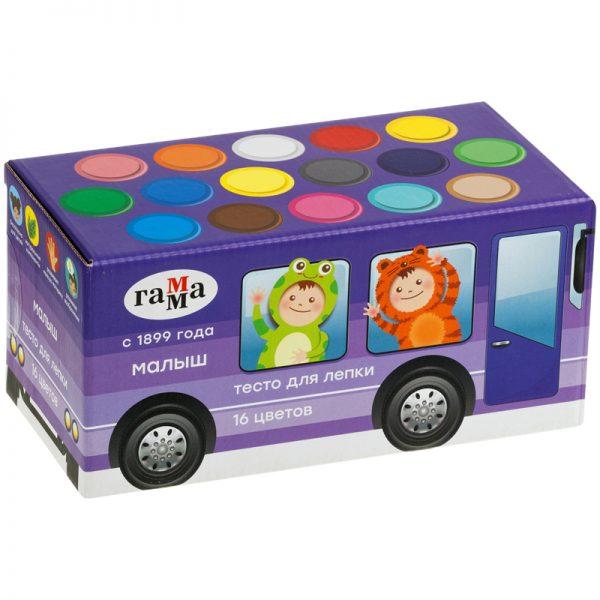 """Тесто для лепки Гамма """"Малыш. Автобус"""", 16 цветов, 960г, в подарочной коробке"""