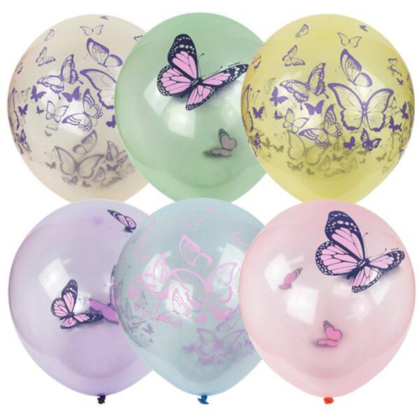 """Воздушные шары,   25шт., М12/30см, ПатиБум """"Кристалл Bubble. Бабочки"""", пастель+декоратор, ассорти, европодвес"""