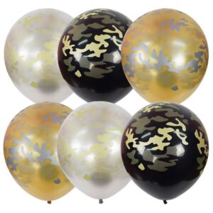 """Воздушные шары,   25шт., М12/30см, ПатиБум """"Black&Gold&Silver. Милитари"""", пастель+декоратор, ассорти, европодвес"""
