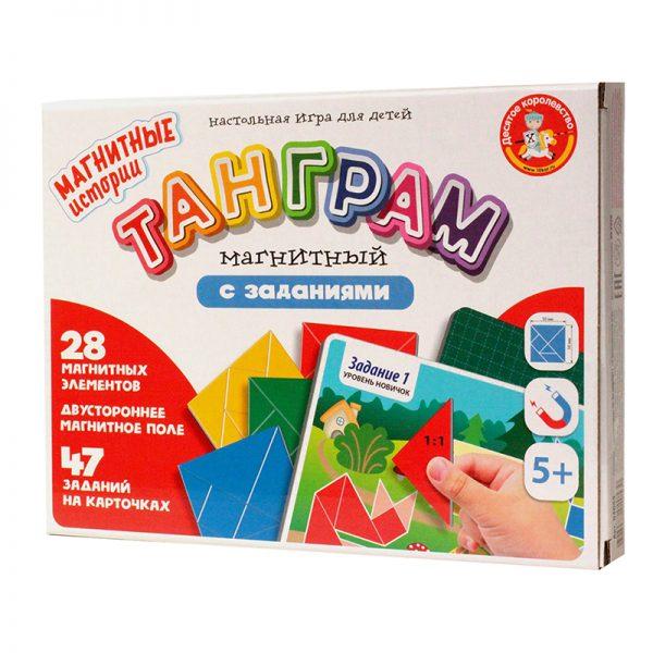 """Игра-головоломка Десятое королевство """"Танграм магнитный с заданиями"""", магнитная, картонная коробка"""