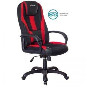 Кресло игровое Бюрократ VIKING-9/BL+RED, PL, ткань/экокожа черный/красный, топ-ган (до 180кг)