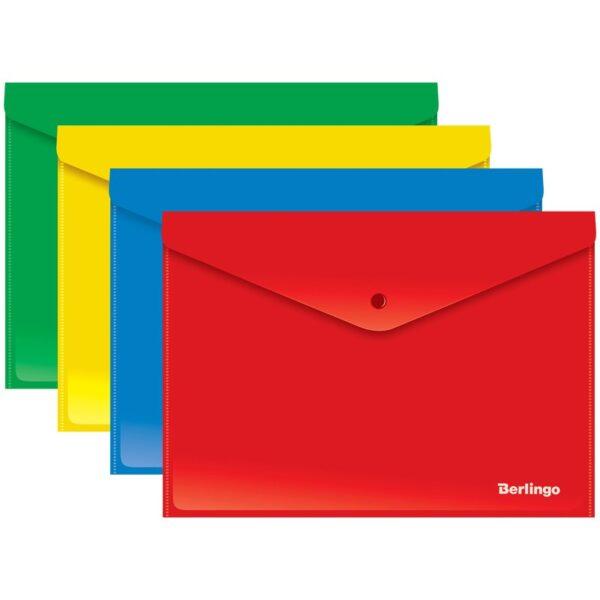 Папка-конверт на кнопке Berlingo, А4, 180мкм, непрозрачная, ассорти