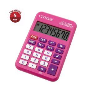 Калькулятор карманный Citizen LC-110NR-PK, 8 разрядов, питание от батарейки, 58*88*11мм, розовый