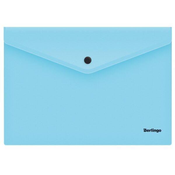 "Папка-конверт на кнопке Berlingo ""Instinct"", А4, 180мкм, аквамарин"