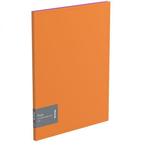 """Папка с 10 вкладышами Berlingo """"Fuze"""", 9мм, 600мкм, оранжевая"""