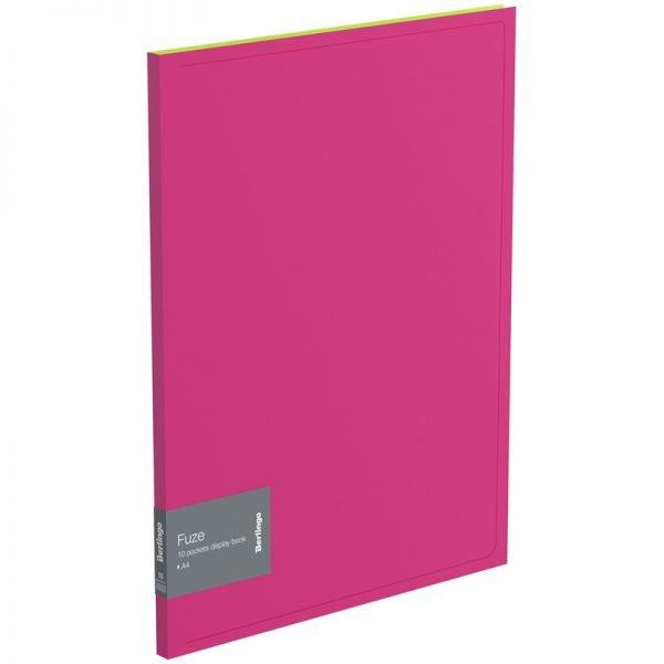 """Папка с 10 вкладышами Berlingo """"Fuze"""", 9мм, 600мкм, розовая"""