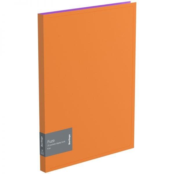 """Папка с 20 вкладышами Berlingo """"Fuze"""", 14мм, 600мкм, оранжевая"""