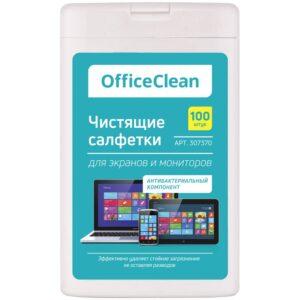 Влажные портативные чистящие салфетки OfficeClean для экранов и мониторов, 100шт. (малая плоская туба)