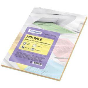 Бумага цветная OfficeSpace pale mix А4, 80г/м2, 100л. (5 цветов)
