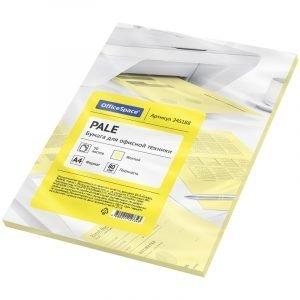 Бумага цветная OfficeSpace pale А4, 80г/м2, 50л. (желтый)
