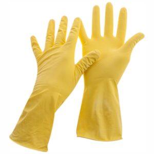 Перчатки резиновые хозяйственные OfficeClean Стандарт+,супер прочные,р.L,желтые,пакет с европодвесом