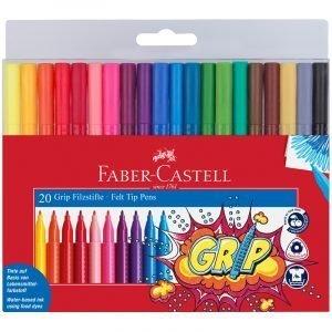 """Фломастеры Faber-Castell """"Grip"""", 20цв., трехгранные, смываемые, пластик.уп., европодвес"""