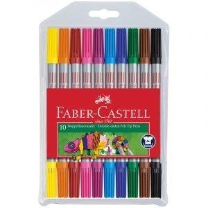 Фломастеры двусторонние Faber-Castell, 10цв., 10шт., смываемые, пластик.уп., европодвес