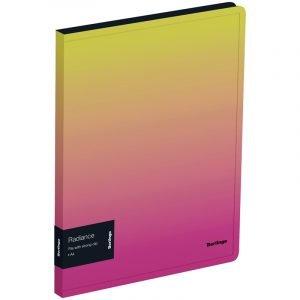 """Папка c зажимом Berlingo """"Radiance"""" А4, пластик,  17мм, 600мкм, с внутр. карманом, желтый/розовый градиент"""