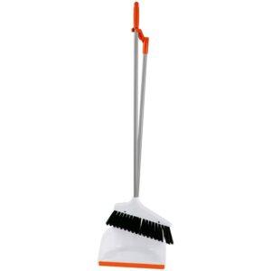 Совок для мусора OfficeClean Professional со щеткой-сметкой, метал. ручка 71,5см, пластик, рез. кромка, бело-оранжевый