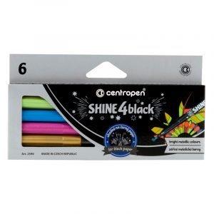 """Набор маркеров для декорирования Centropen """"Shine4black"""" 6цв., метал., пулевид., 2,5 мм, карт.европ."""