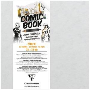"Скетчбук для маркеров 32л. 220*220мм, на склейке Clairefontaine ""Comic book"", 220 г/м2"