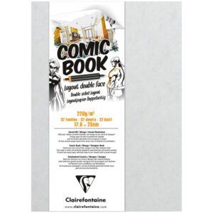 "Скетчбук для маркеров 32л. 176*250мм, на склейке Clairefontaine ""Comic book"", 220 г/м2"