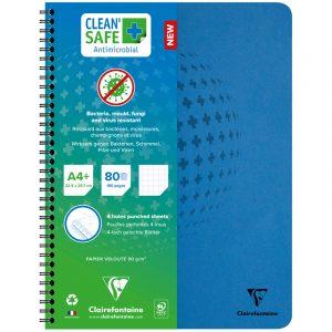 """Тетрадь 80л., А4+, клетка на гребне Clairefontaine """"Clean'Safe"""", 90г/м2, перфор., микроперф., антибактериальная обложка"""