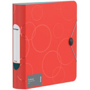 """Папка-регистратор Berlingo """"Eclipse"""", 80мм, 2500мкм, пластик (полифом), круглый корешок, на резинке, красная"""