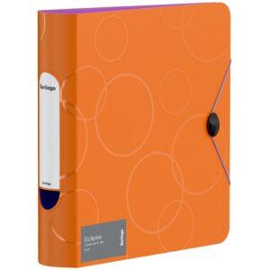 """Папка-регистратор Berlingo """"Eclipse"""", 80мм, 2500мкм, пластик (полифом), круглый корешок, на резинке, оранжевая"""