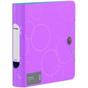 """Папка-регистратор Berlingo """"Eclipse"""", 80мм, 2500мкм, пластик (полифом), круглый корешок, на резинке, фиолетовая"""