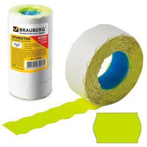 Этикет-лента 22×12 мм, волна, желтая, комплект 5 рулонов по 800 шт., BRAUBERG