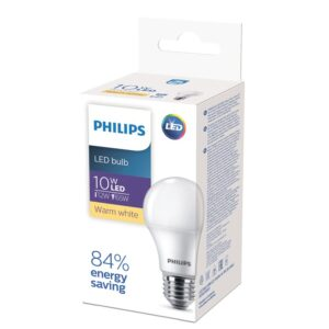 "Лампа светодиодная Philips EcoHome, 10Вт, тип А ""груша"", Е27, 3000К, теплый свет"