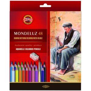 """Карандаши акварельные Koh-I-Noor """"Mondeluz Old Man"""", 48цв., заточен., кисть+точилка, картон, европодвес"""