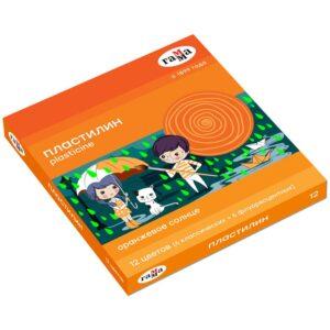 "Пластилин Гамма ""Оранжевое солнце"", 12 цветов ( 6 классич., 6 флуор.), 168г, со стеком. картон. упак."