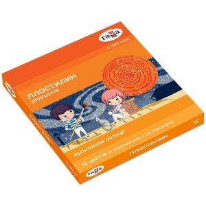 "Пластилин Гамма ""Оранжевое солнце"", 12 цветов ( 6 классич., 6 с блестк.), 168г, со стеком. картон. упак."