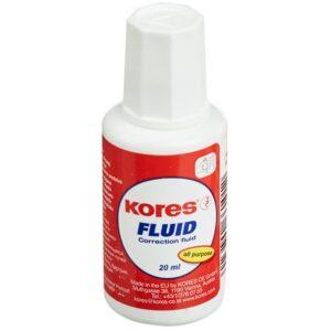 """Корректирующая жидкость Kores """"Fluid"""", 20мл, на химической основе, с кистью"""