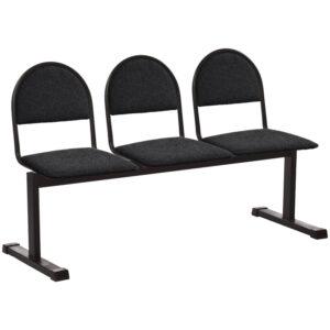 Секция 3 места Тройка, 1420*510*840, каркас черный муар, сиденья ткань черная Т-11