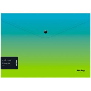 """Папка-конверт на кнопке Berlingo """"Radiance"""", 180мкм, голубой/зеленый градиент, с рисунком"""