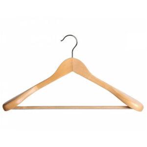 Вешалка-плечики OfficeClean, деревянная, анатомическая, антискользящая перекладина, 45 см, цвет сосна