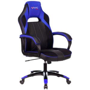 Кресло игровое Бюрократ VIKING 2 AERO BLUE, PL, ткань/экокожа, черный/синий, топ-ган (до 180кг)