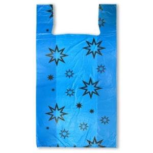 """Пакет-майка OfficeClean """"Звёзды """", ПНД, 30+16*60см, 15мкм, голубой"""