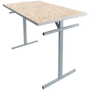 Стол обеденный под скамью Мета Мебель, 4-местный, 1200*700*760, каркас серый, столешница ДСП/пластик мрамор