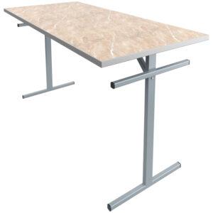 Стол обеденный под скамью Мета Мебель, 6-местный, 1500*700*760, каркас серый, столешница ДСП/пластик мрамор